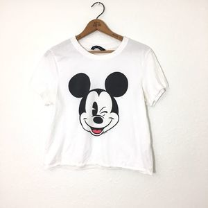 ABERCROMBIE Winking Mickey Mouse Crop Tee Size S